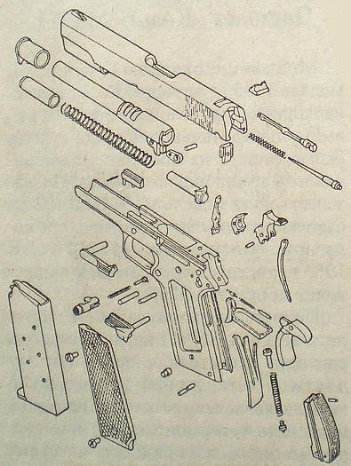 Взрыв-схема деталей пистолета